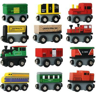 12 Piece Wooden Train Cars Magnetic Set Includes 3 Engines Magnet Train Toy Gear Set Toys