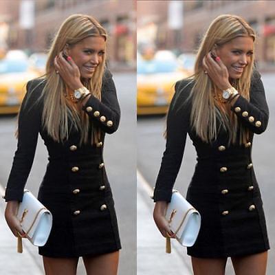 US Women Casual Slim Autum Long Sleeve Buttons Bodycon Cocktail Mini Dress XL