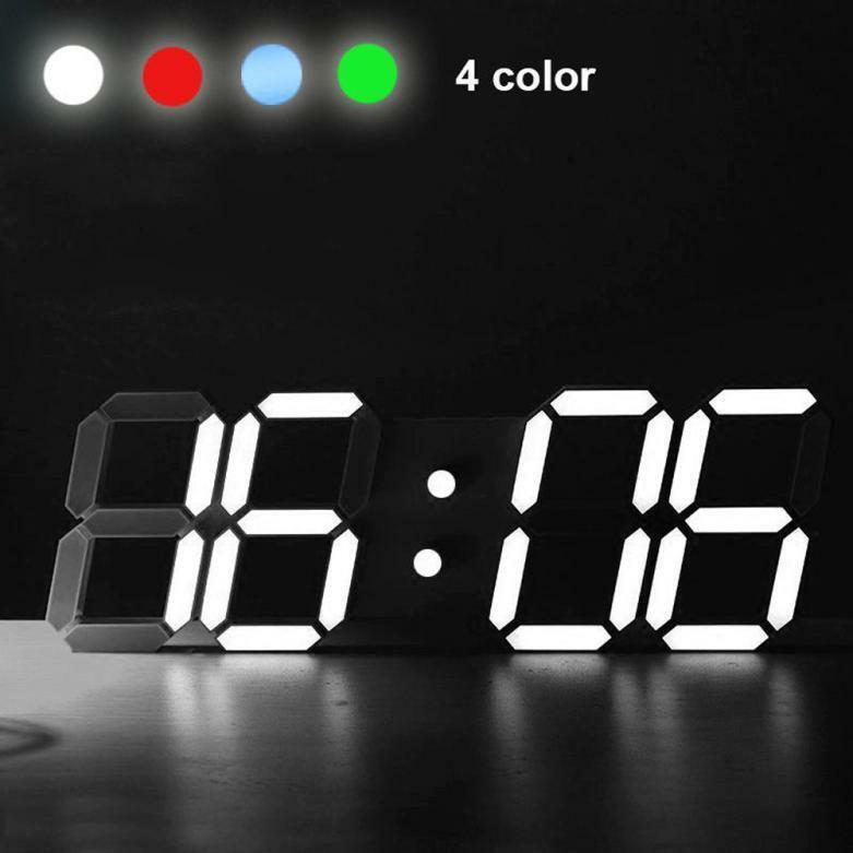Modern Digital LED Table Desk Night Wall Clock Alarm Watch 24 or 12 Hour Display
