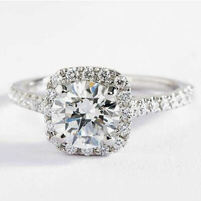 18K White Gold Plated Halo Ring Made with Swarovski -