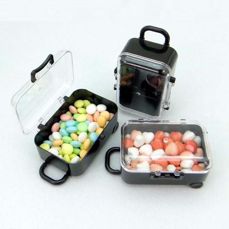 Mini Rolling Travel Suitcase Candy Box Wedding Party Favors Reception Candy Toy