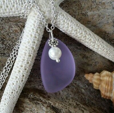 Purple Sea Glass necklace jewelry,Natural pearl,Sterling silver chain,gift box.