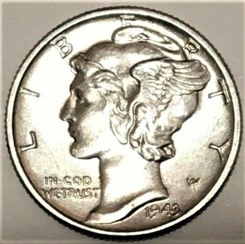 1943 P Mercury Dime Brilliant Uncirculated 90% Silver Coin Au / BU