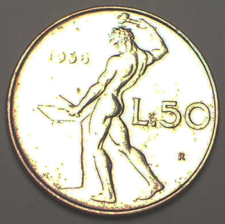 1956 Italy Italian 50 Lire Blacksmith Coin VF+