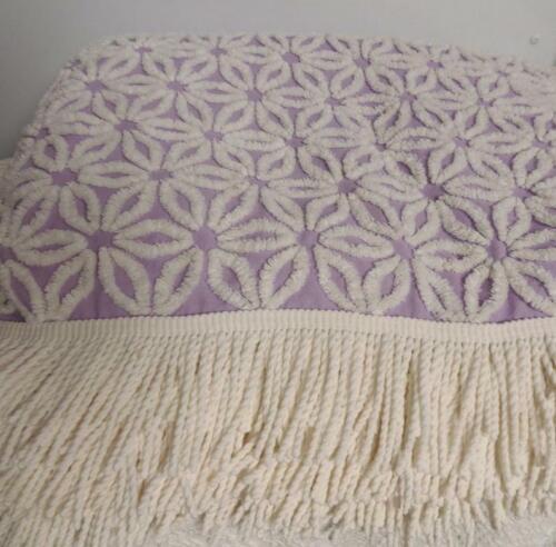 Hoffman Purple White Daisy Chenille Bedspread Vintage Beautiful Bedspread