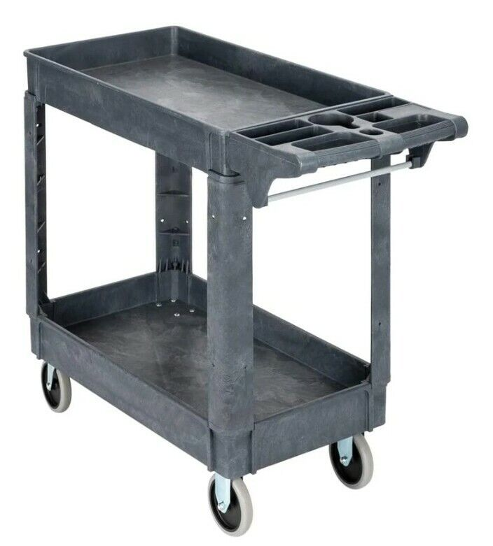 TUFFIOM TF252-S2 500lb Plastic Rolling 2-Tier Storage Utility Cart Black
