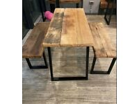 Vintage style Industrial Reclaimed wood Dining/Kitchen Table with Bench