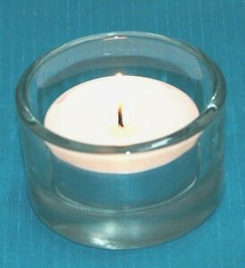 1-Tea-Light-or-Votive-Clear-Unique-Candle-Holder-Heavy-Sides-Heavy-Thick-Glass