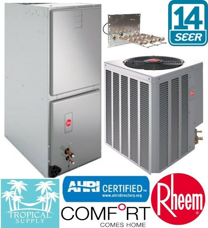 4 Ton Rheem Select A/C System Air Handler & Condenser With Heat Strip