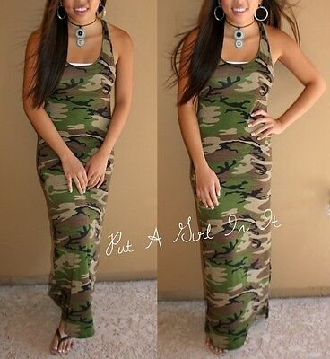 USA OLIVE GREEN CAMO CAMOUFLAGE MILITARY TANK MAXI DRESS SUNDRESS S M L XL BOHO