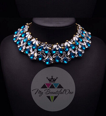 Fashion Pendant Chain Crystal Pearl Choker Chunky Statement Bib Necklace Jewelry