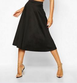 Midi Black Skirt by Boohoo 8 UK