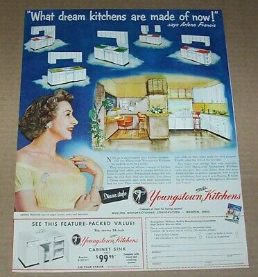 1951 print ad - Youngstown Steel Kitchens Arlene Francis Warren Ohio advertising