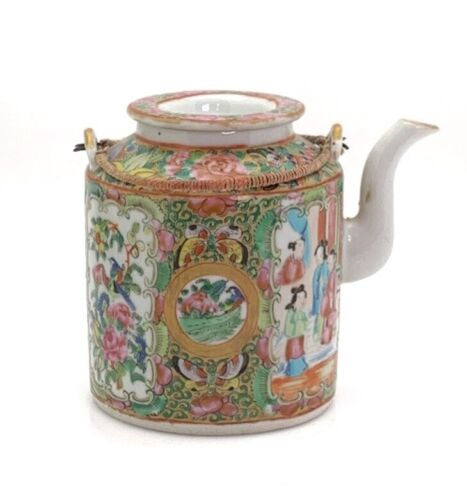 Chinese Rose Medallion Teapot 19th Century with Braided Wire Handles