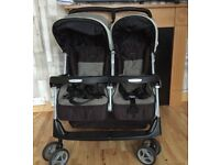 Mamas&Papas double twin pram/pushchair with warm winter footmuffs