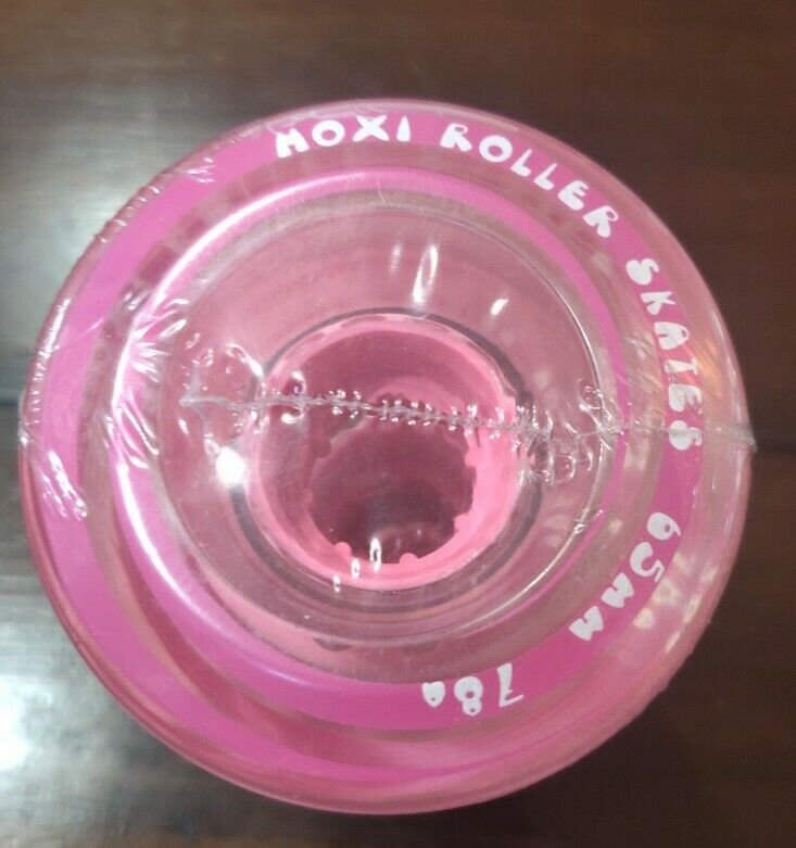 Brand New MOXI GUMMY CORED ROLLERSKATE WHEELS CLEAR PINK 78-A 65MM (Set Of 4)
