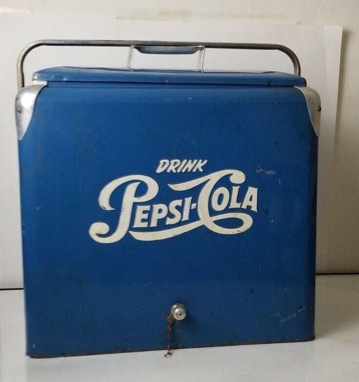 Vintage PEPSI COLA Blue Picnic Cooler Ice Chest (Progress Refrig)