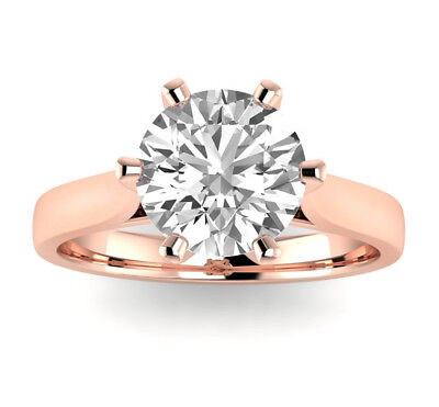 3.20 Ct Round Cut Natural H SI1 Diamond Solitaire Engagement Ring 14K Pink Gold