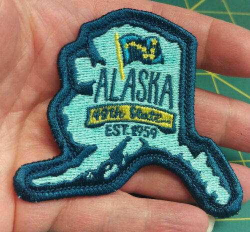 New Alaska iron on embroidered patch Alaska Map with 49th State EST 1959 & Flag