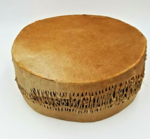Vintage 14″ Double Sided Stretched Hide Leather Hand Drum Tribal Ethnic Rustic