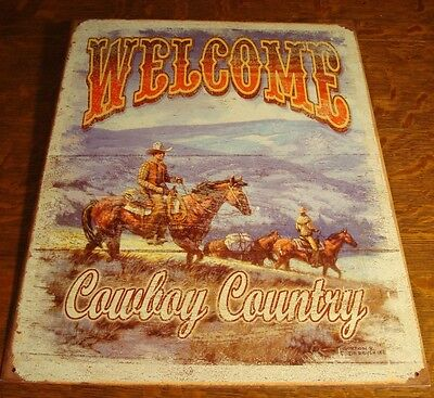 WELCOME COWBOY COUNTRY Horse Mountain Ranch Rustic Wood Grain Sign Home Decor