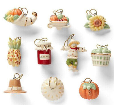 Lenox Autumn Favorites 10 Piece Mini Ornament Set Thanksgiving New (No Tree)