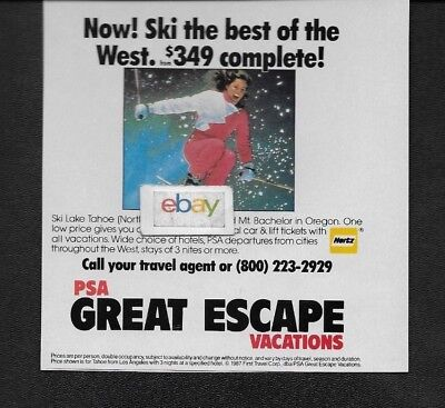 Psa Pacific Southwest Great Escape Vacations To Ski In Lake Tahoe 1987 Ad