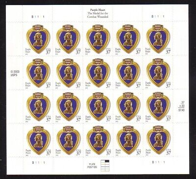 Purple Heart Stamp Value (AT FACE VALUE! #3784 PURPLE HEART. MINT SHEET. F-VF NEVER)