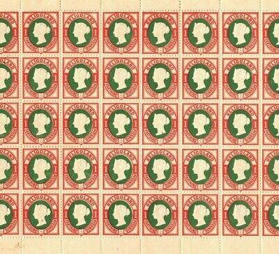HELIGOLAND QV Stamps SG.10 1pf (II) p13½+14½ (1875) Mint Sheet c£1, 000+* EP184
