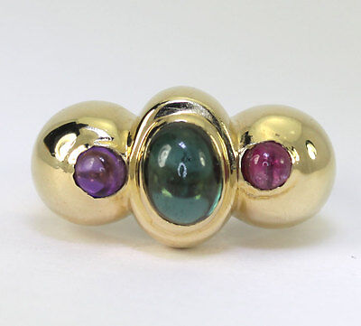 (Tourmaline amethyst ring 14K yellow gold Etruscan style oval round 3 gems 2.25CT)