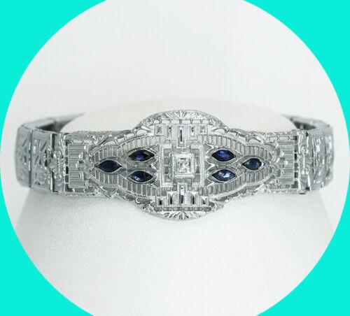 .32CT VS diamond sapphire Art Deco style bracelet WG filigree 13.8 GM