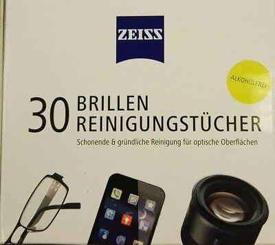 ZEISS Brillen - Reinigungstücher - 30 Stück einzeln verpackt - Alkoholfrei - NEU - Alkohol-frei Reiniger