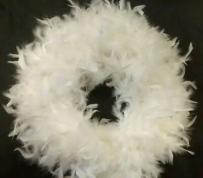 White Feather Wreath - Handmade Great For Wedding, Christmas, Home Decor