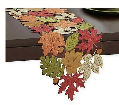 "36"" Serene Leaves Cutwork Table Runner Fall Autumn Nature Rustic Green Orange -"