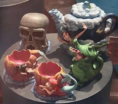 Disney Parks Peter Pan Tic-Tock Crocodile Mermaids Skull 5 Piece Mini Tea Set