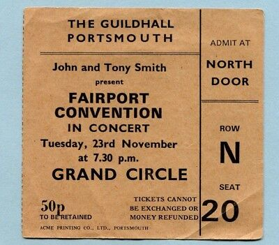1971 Fairport Convention concert ticket stub Guildhall Portsmouth Angel Delight