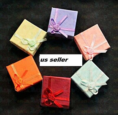 24 Pc New Jewelry Wedding Woman Paper Ring Earring Color Gift Box Wholesale Xmas