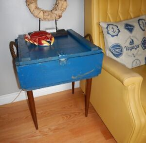 Vintage side table reclaimed ammo box