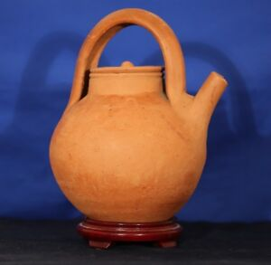 French 13th Century Pottery Red DaisiesWine Ewer w/ Original Lid