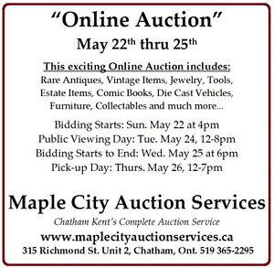 Exciting *Online Auction*  May 22 to May 25.  Don't Miss it...