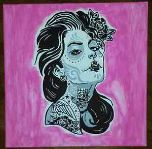 Zombie lady/Sugar Skull Hand painted on 18 x 18 x 2 canvas