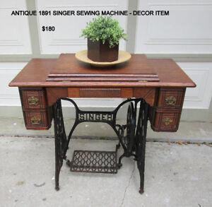 1891 ANTIQUE SINGER SEWING MACHINE - DECOR TABLE ONLY