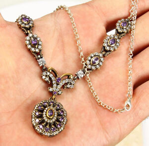 Beautiful SOLID 925 STERLING SILVER WHITE & PRUPLE TOPAZ