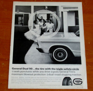 1966 GENERAL TIRES AD WITH PLYMOUTH FURY VINTAGE AD / ANONCE 60S