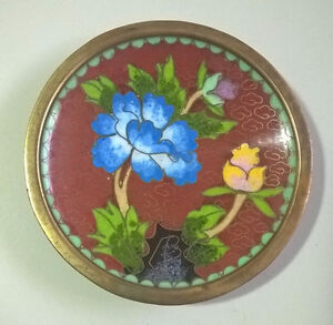 Vintage Deep Red Cloisonne Brass Enamel Multicolor Flower Plate