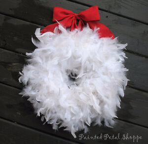 White Christmas Feather Wreath/Holiday Wreath/Winter Wedding