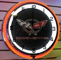 Corvette C5 Red/White Double Ring Neon Clock 18-NIB-Metal Housing