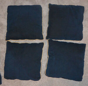 4 dark blue decor cushions with golden trim, good condition Kitchener / Waterloo Kitchener Area image 1