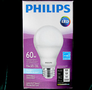 "Philips ""LED"" 9.5 W Bulb = 60W A-Line (A19) Daylight (5000K)"