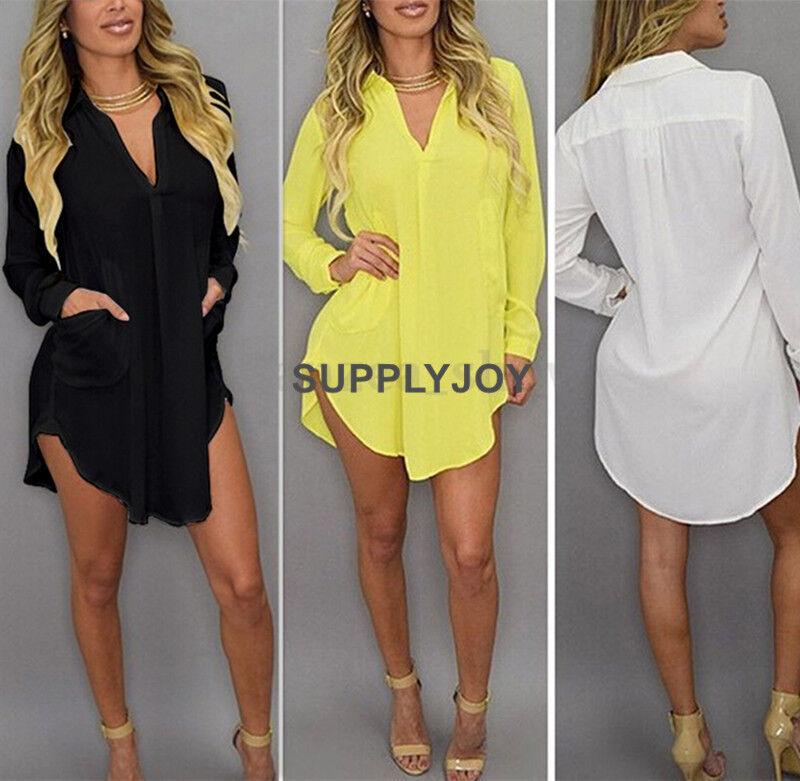 Womens Casual Long Sleeve V-Neck Oversize Loose Chiffon T Shirt Top Blouse Dress